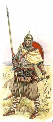 Русский воин с копьем, художник И. Дзысь