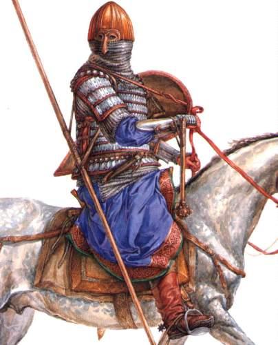Иллюстрация художника Федерова, изображающая русского конного воина
